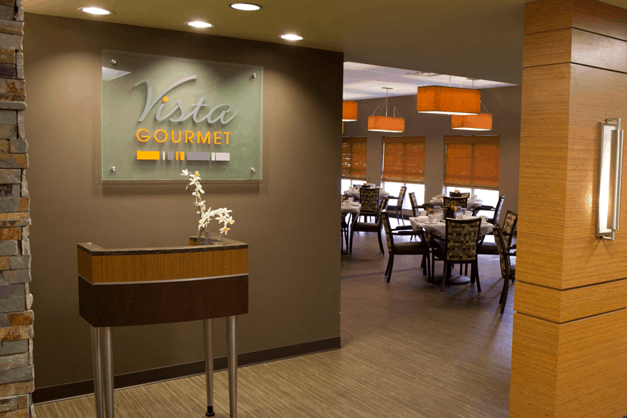 The front entrance of Vista Gourmet, our gourmet dining experience