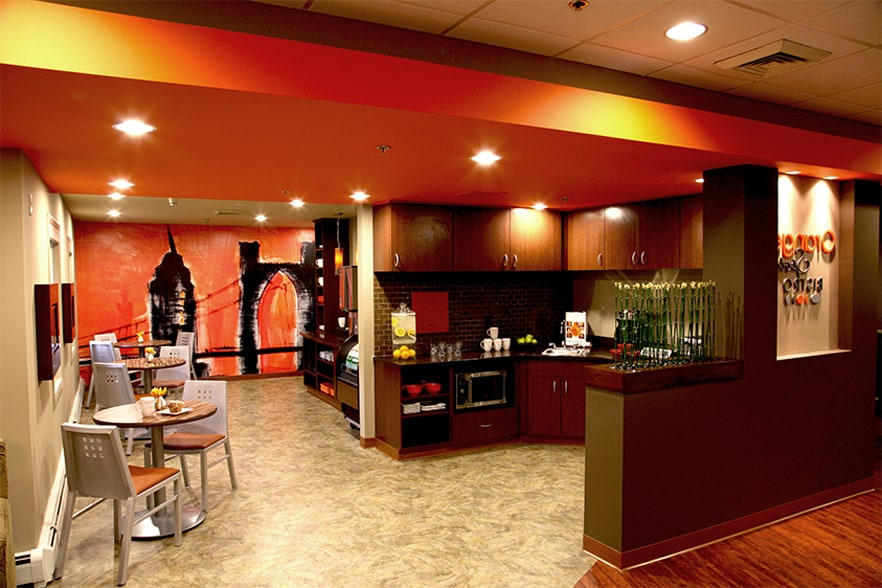 The inside of our fast-casual dining spot, Orange Spot Bistro